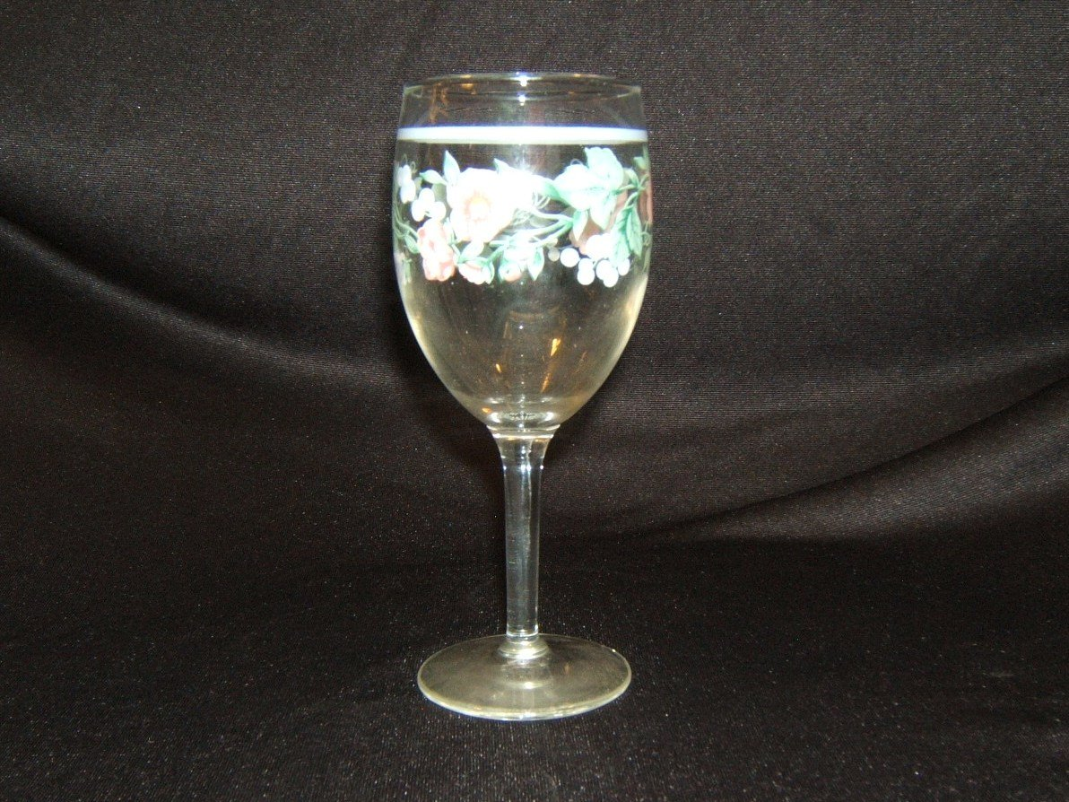 Designer White Wine Stemware 6-1/2in x 3in x 3in Clear Floral Country Glass