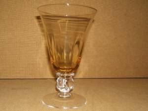 Designer Water Glass Short Stem 7in x 4in x 4in Yellow/Clear Classic
