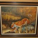 Original Vintage Painting Framed 30in x 24in D McCarthy Miller Tiger Animal