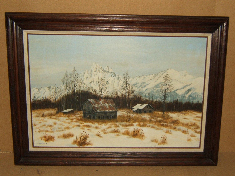 Original Vintage Painting Framed 36in x 24in Gronewald Landscape Oil on Canvas