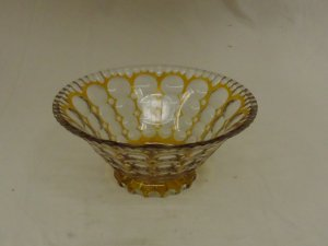 Designer Fruit Bowl 10in x 10in x 4 1/2in Clear/Gold Retro Vintage Glass