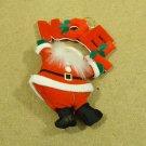 Standard Santa Christmas Tree Ornament 7 1/2in x 5in Red/White/Green Felt