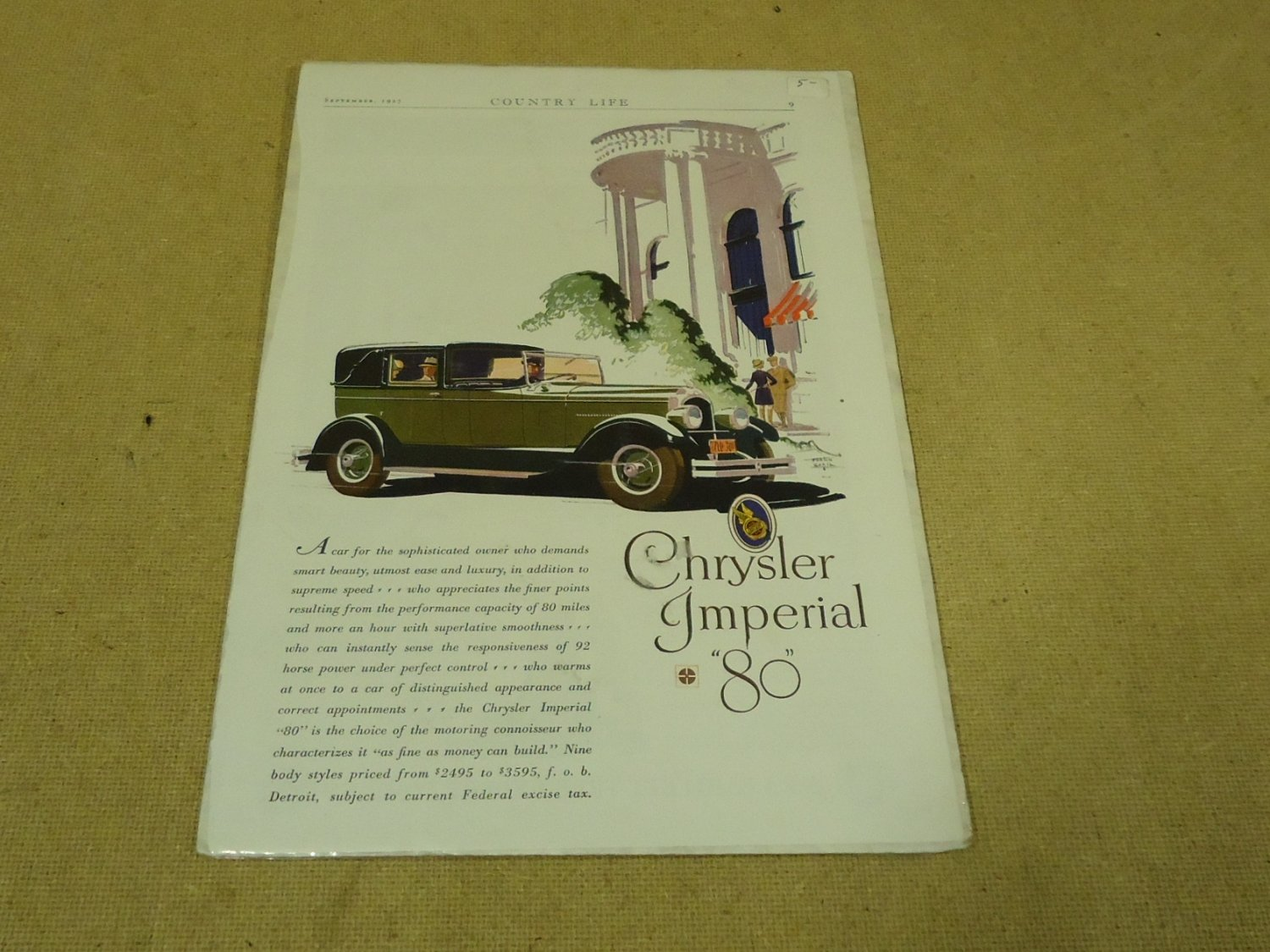 Chrysler Vintage Laminated Imperial 80 Ad White/Green/Pink Country Life