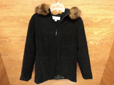 Jones New York Jacket Coat Fur Accent Polyester 100% Female Adult 8 Blacks Solid