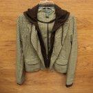 Doki Geki Coat Hooded Polyester/Rayon Female Adult M Browns Plaids & Checks