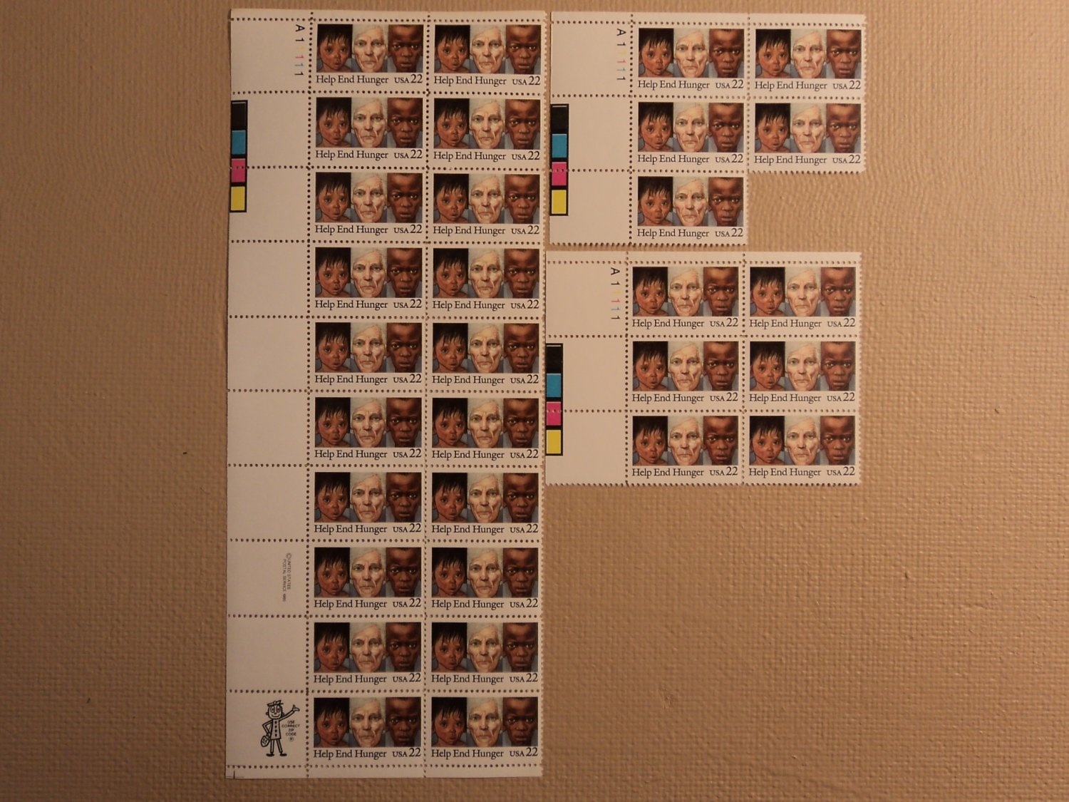 USPS Scott 2164 22c 1985 Help End Hunger Lot Of 3 Plate Block 31 Stamps Mint NH