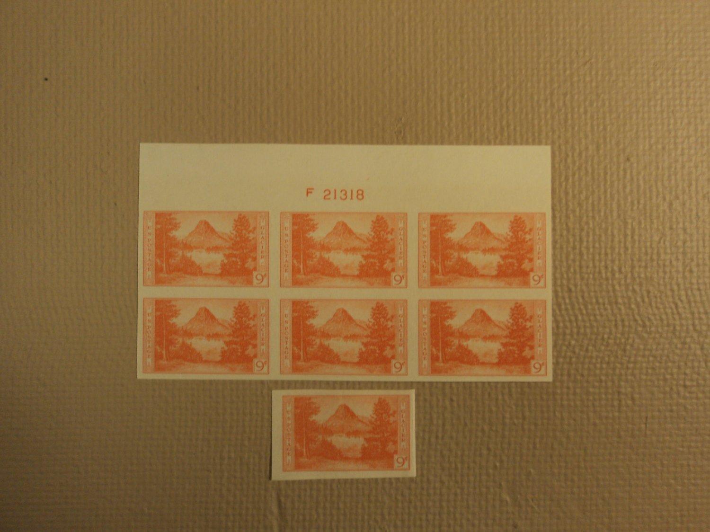 USPS Scott 764 9c Glacier Park Imperf 1935 Lot Of 2 Plate Block 7 Stamps Mint NH