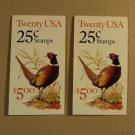 USPS Scott 2283a 25c 2 Books Pheasant 1988 40 Stamps Mint Booklet