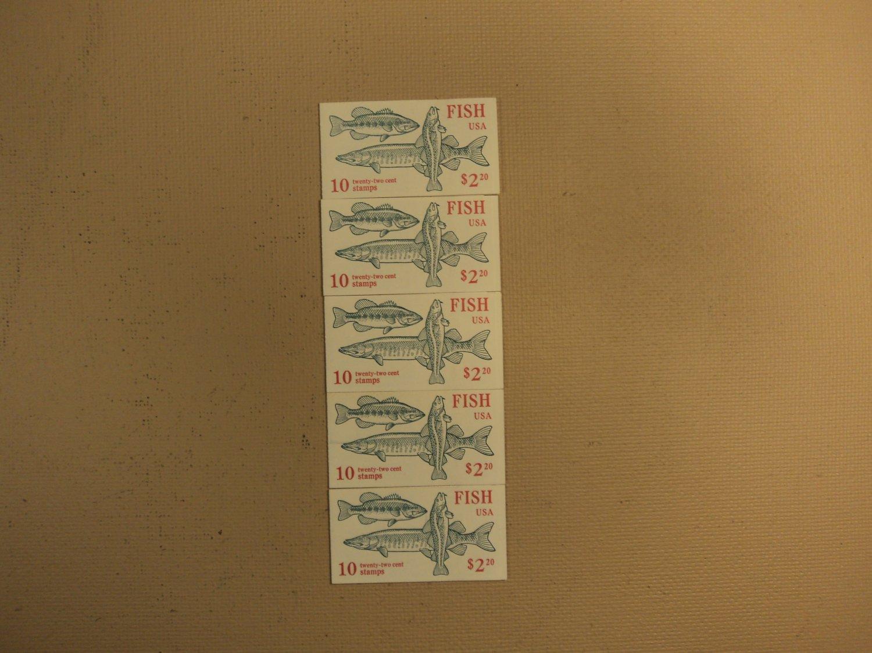 USPS Scott 2205-09 22c 1986 Fish 5 Books OF 10 50 Stamps 10 Panes