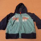 Place Hoodie Sweatshirt Cotton 60% Polyester 40% Male Kids 24 months Blues Solid
