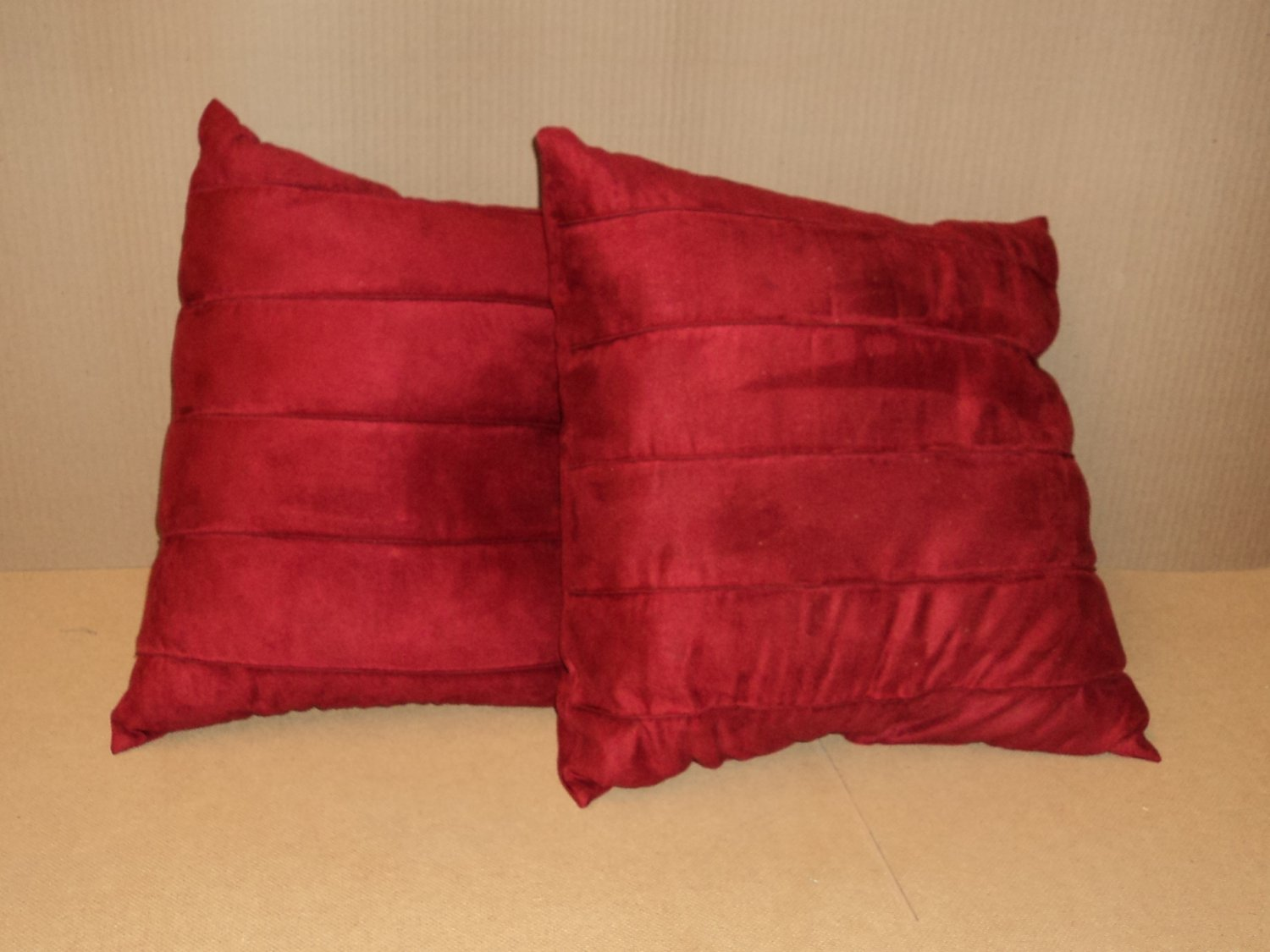 Designer Pillows 17in L x 17in W x 7in D Red Solid Set of 2 Ultrasuede