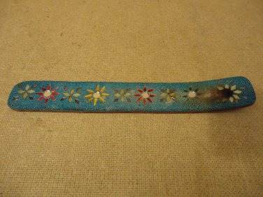 Handcrafted Incense Holder 10in L x 1 1/2in W Blues/Reds/Yellows Wood Plastic