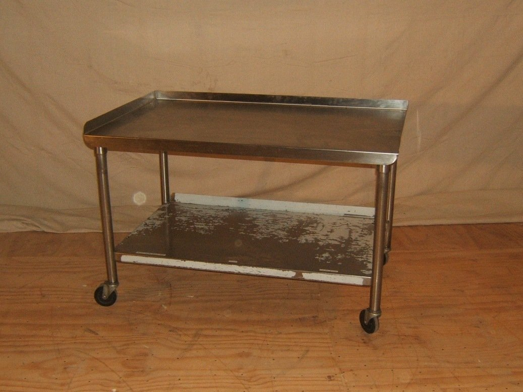 Heavy Duty Prep Table Rolling 48in L x 30in W x 30in H Stainless Steel
