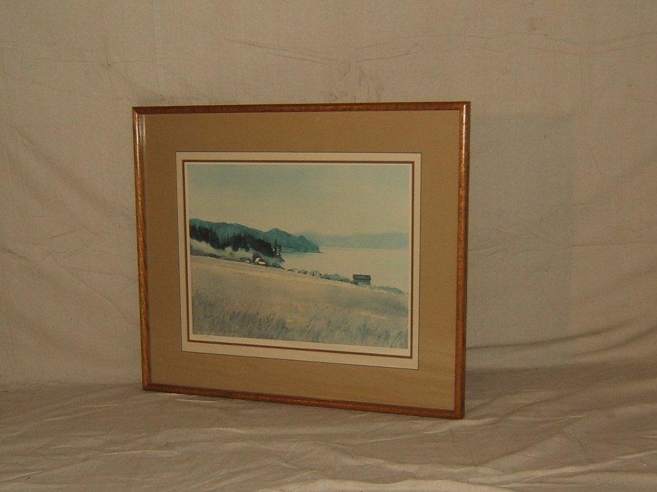 Print Vintage Whidbey Island Framed Matted N. Taylor Stonington Landscape Realism