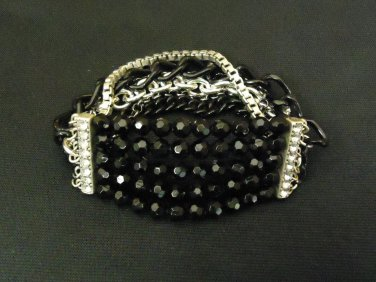 Designer Fashion Bracelet Beaded/Strand Metal Plastic Female Adult Black/Silver