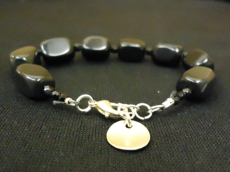 Designer Fashion Bracelet Strand/String Metal Female Adult Silvers/Blacks