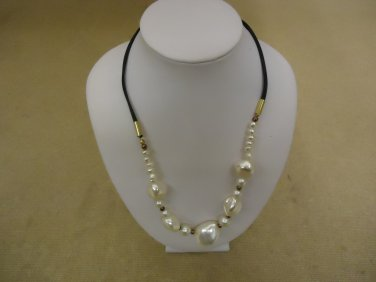 Designer Fashion Necklace 17in L Beaded Faux Pearl Female Adult White/Black