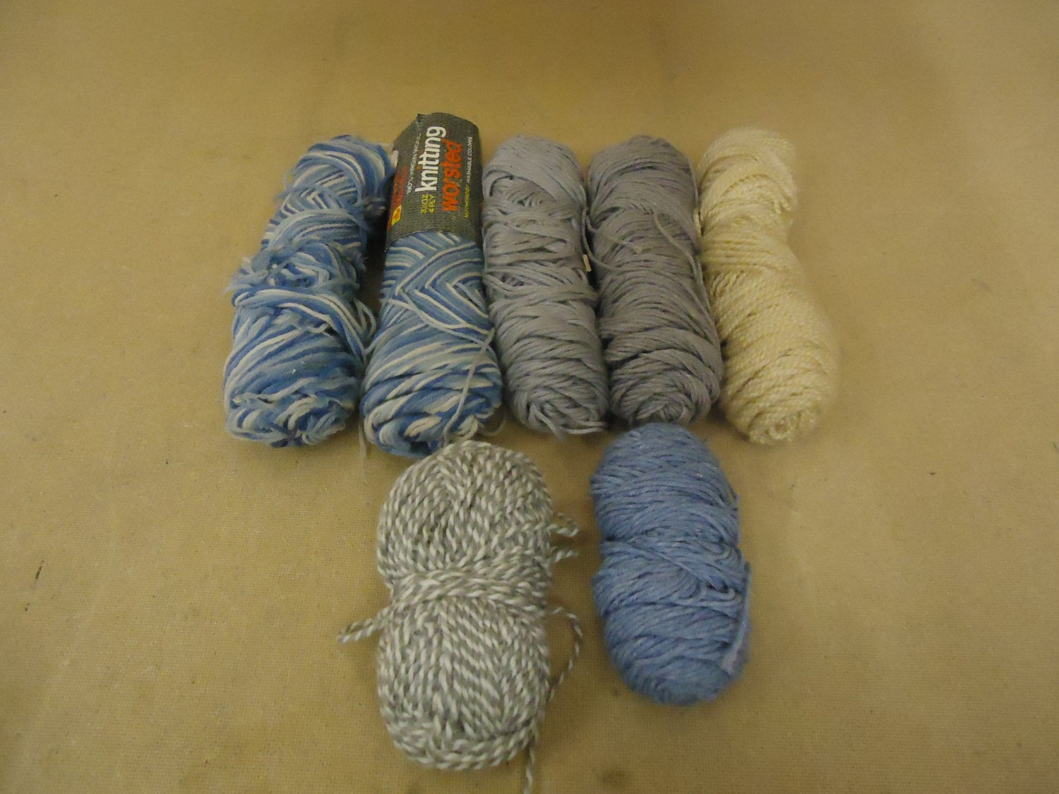 Standard Knitting Yarns Multiple Colors Lot of 7 Wool Acrylic
