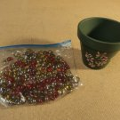 Designer Pebbles And Flower Pot Multi-Color Glass Beads Pottery