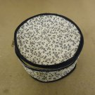 Cover Ups Dish Case 8in Diameter x 5in H White/Blue Floral Plastic