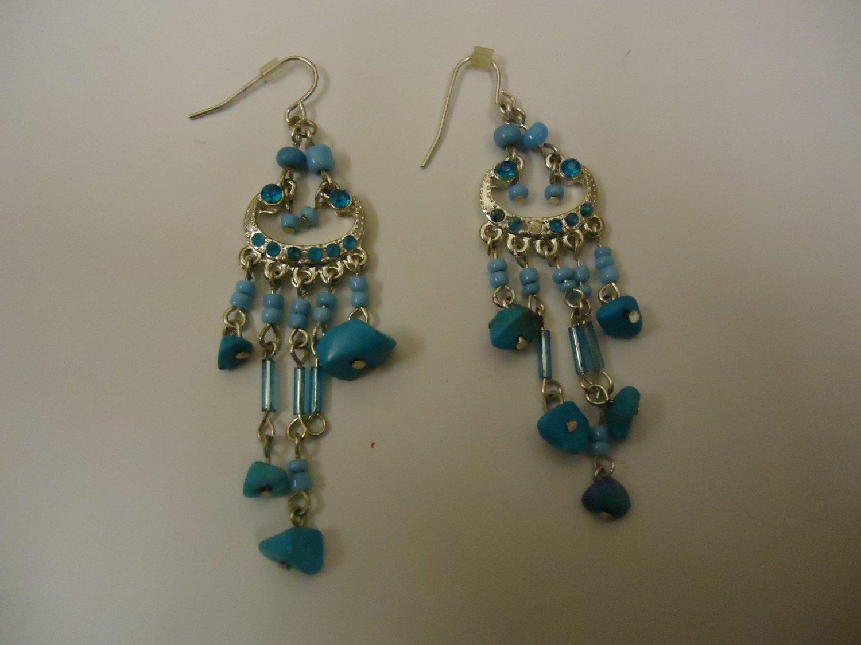 Designer Fashion Earrings Drop/Dangle Metal Faux Stone Female Adult Blues