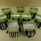 FTD Lot of 9 Mini Bags 7in H x 5in W x 4in D Green/Red/Blue Liners Paper Plastic