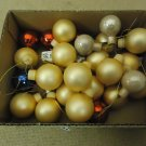 Designer Hanging Balls One Box Decorative 1in Diameter Gold/Red/Blue Glass