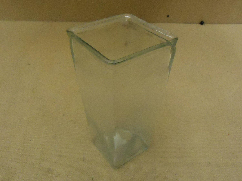 Designer Flower Vase 9in x 4 1/4in x 4 1/4in Clear Modern Square 33681209 Glass