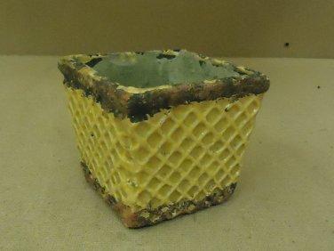 Designer Flower Pot 4 1/2in x 4 1/2in x 4 1/2in Green/Yellow Rustic Terra Cotta