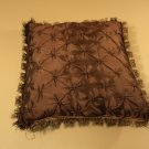 Designer Square Pillow 19in L x 19in W x 5in H Brown Contemporary Fringe