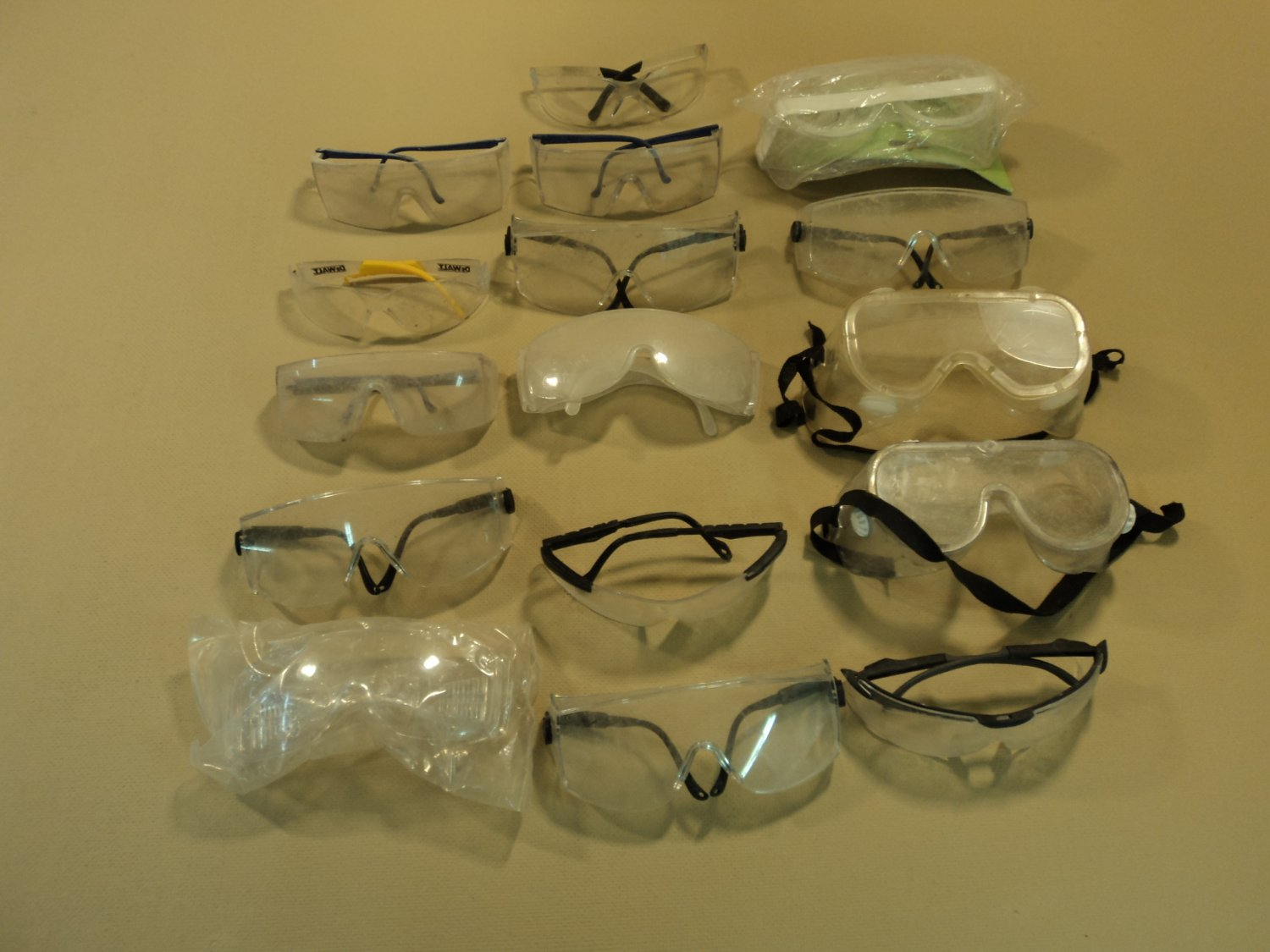 Standard Safety Glasses Goggles Lot of 16 Clear Plastic