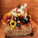 Handmade Fall Décor Pumpkin Scarecrow Hay Lighted Thanksgiving