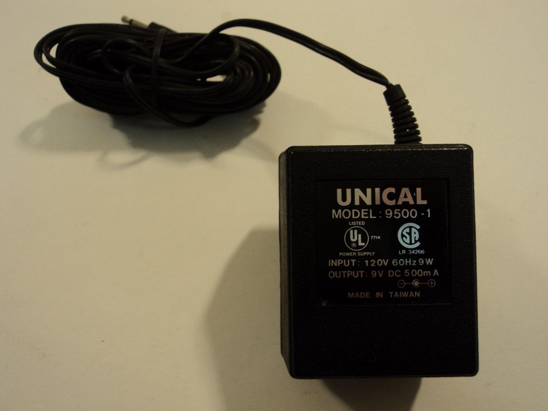 Unical Power Adaptor Supply 9VDC 500mA 120VAC 60Hz 9W 9500-1