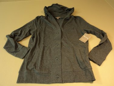 White Stag French Terry Hooded Cardigan Female Adult Small 4/6 Grays Solid