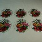 Designer 6-Inch Round Sun Catchers Set of 6 Multicolor Flowers Glass