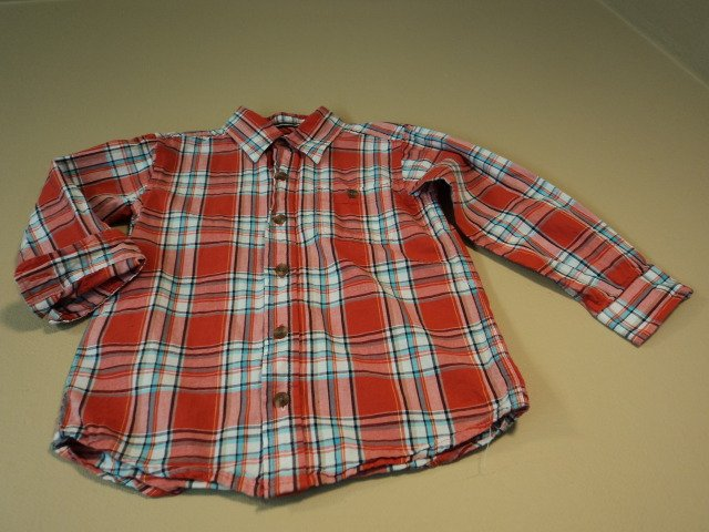 Childrens Place Boys Button Down Shirt 100% Cotton 4T Reds Plaids & Checks