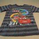Disney Store Boys T-Shirt Cars Cars Lighting McQueen 4XS Grays Striped