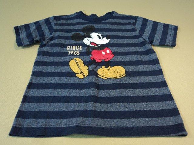 Disney Store Boys T-Shirt Mikey Mouse Cotton Polyester 4XS Blues Striped