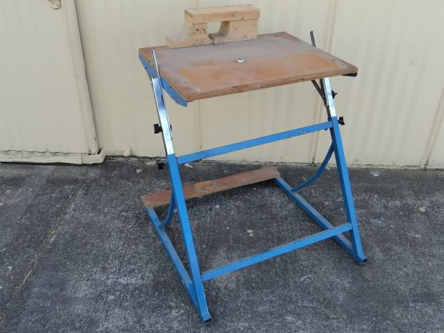 Professional Adjustable Work Bench Blue/Gray Adjusts 30in to 42in High Metal