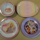 Trudeau Kid Plates Bowl Lot of Four Multicolor Barbie Tinkerbell Easter Plastic