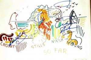 Crosby, Stills, Nash, Young Autographed So Far LP cover COA UACC