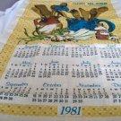 Vintage Calendar Tea Towel 1981