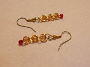 Golden Rosette Dangle Earrings