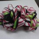 Black Hot Pink Lime Green Zebra Loopy Loop