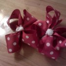 Red & White Polka Dot Pigtail Boutique Style Bows