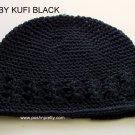 Solid Black Kufi Crochet Infant Hat