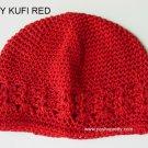 Red Kufi Crochet Infant Hat