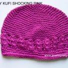 Shockin Pink Kufi Crochet Toddler Hat