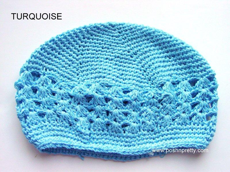 Turquoise Kufi Crochet Toddler Hat