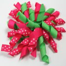 Hot Pink & Lime Green Korker Bow